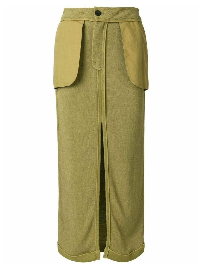 John Galliano Vintage inside out midi skirt - Green