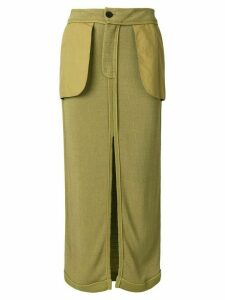 JOHN GALLIANO PRE-OWNED inside out midi skirt - Green