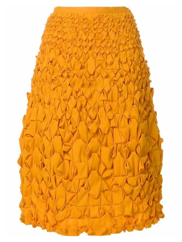 Issey Miyake Vintage interwoven flared skirt - Orange