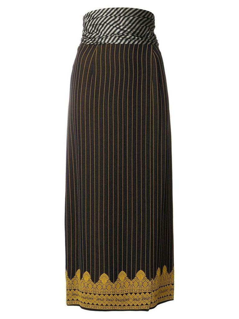 Jean Paul Gaultier Vintage mid-calf pinstripe skirt - Blue