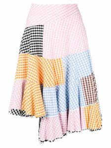 Comme Des Garçons Pre-Owned patchwork gingham asymmetric skirt -