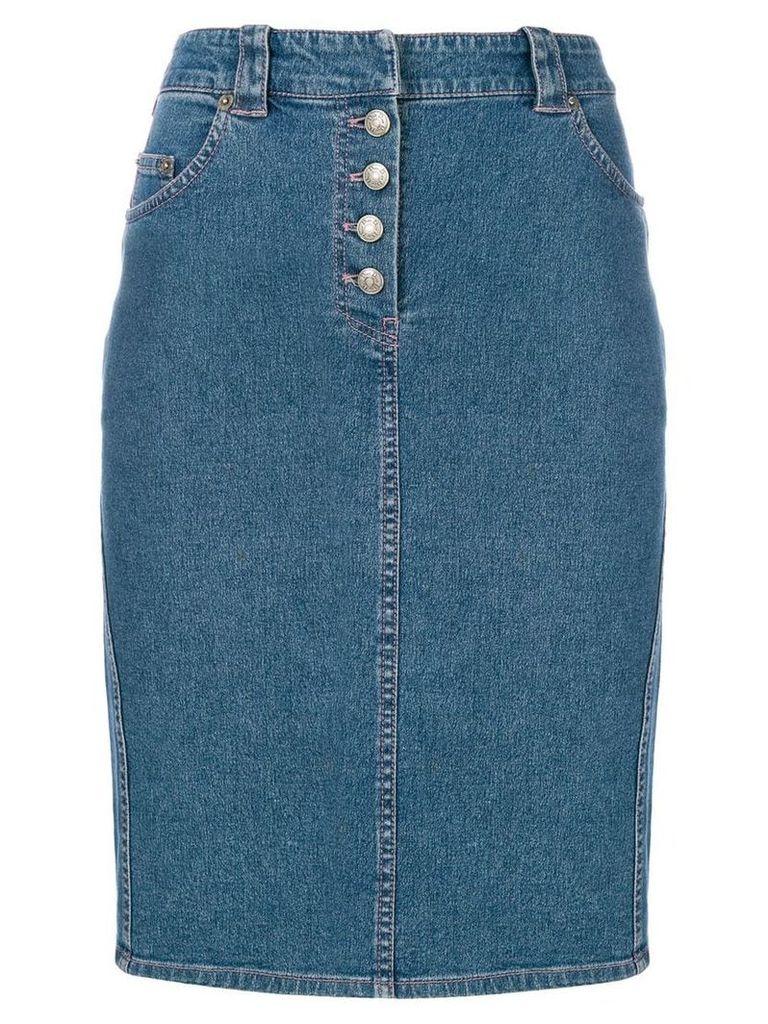 Christian Dior Pre-Owned denim midi skirt - Blue