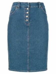 CHRISTIAN DIOR PRE-OWNED denim midi skirt - Blue
