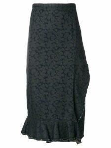 Comme Des Garçons Pre-Owned wrap denim printed skirt - Blue