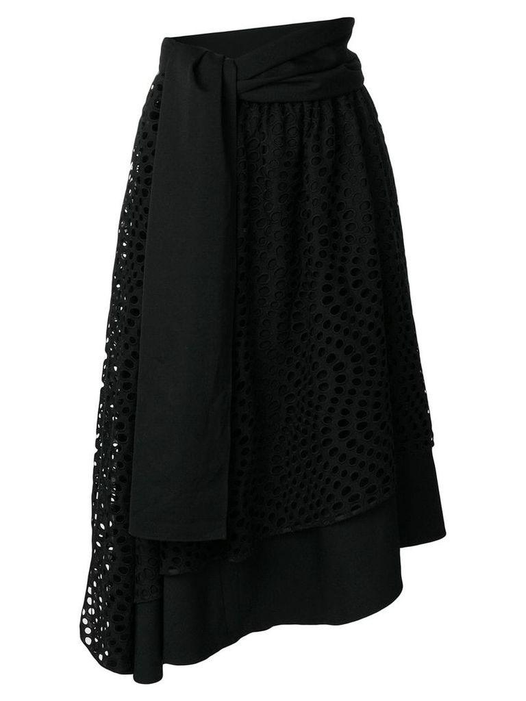 Yohji Yamamoto Vintage eyelet lace embroidered circle skirt - Black