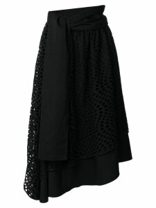 Yohji Yamamoto Pre-Owned eyelet lace embroidered circle skirt - Black