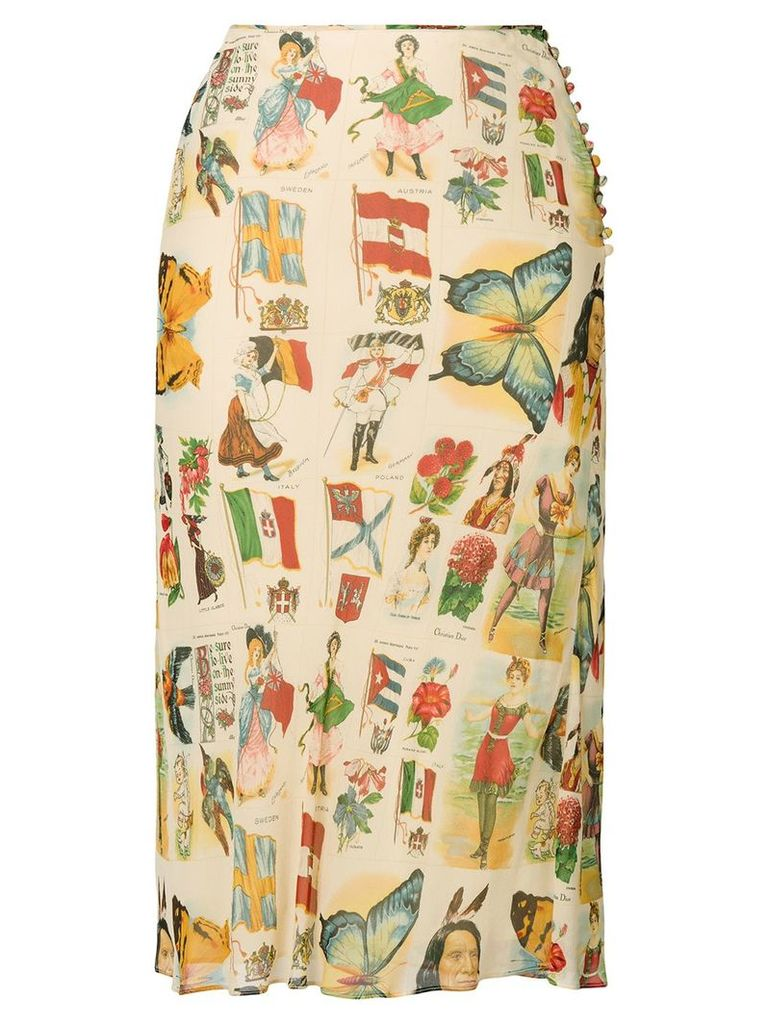 Christian Dior Vintage multiprinted double layered skirt - Neutrals