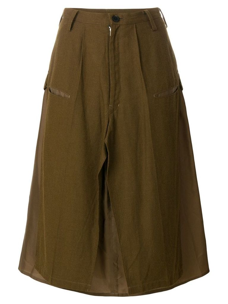 Yohji Yamamoto Pre-Owned deconstructed military skirt - Brown