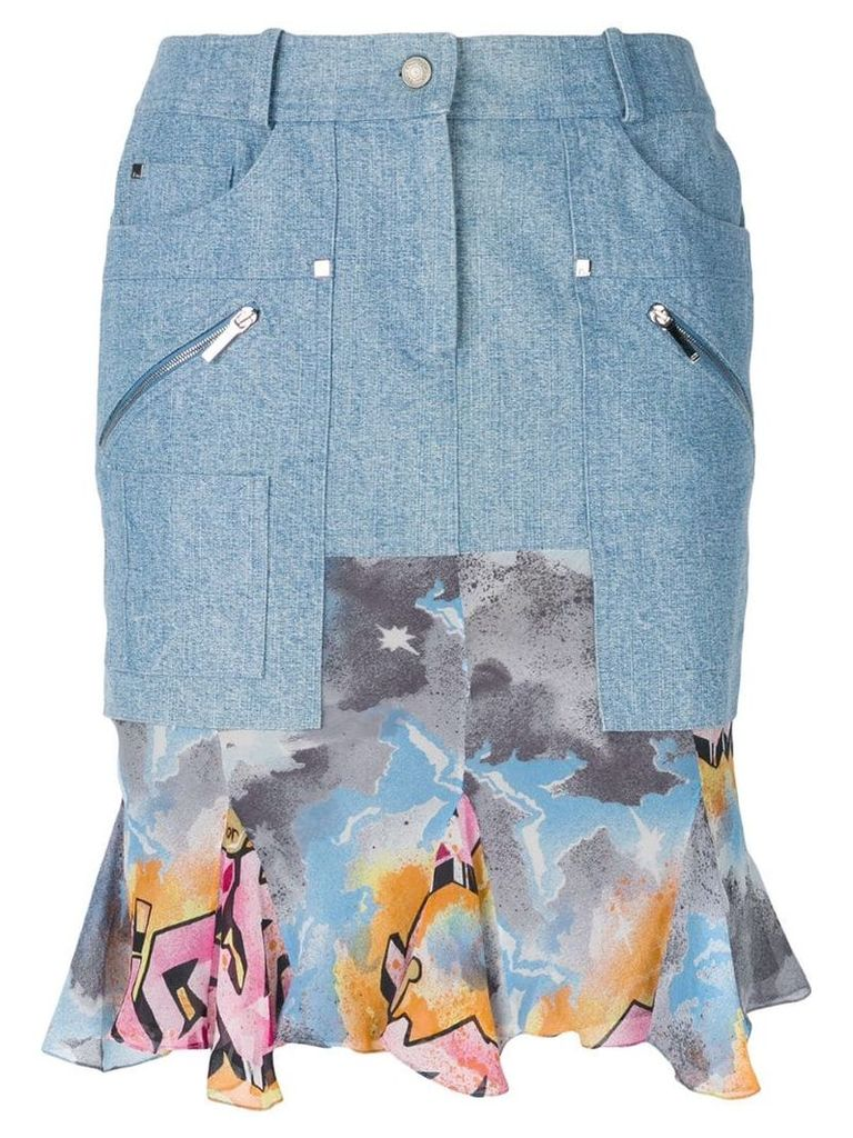 Christian Dior Vintage ruffled hem denim skirt - Blue