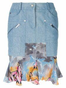 Christian Dior Pre-Owned ruffled hem denim skirt - Blue