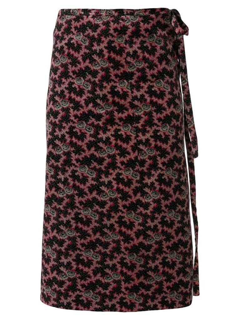 Comme Des Garçons Vintage floral velvet wrap skirt - Multicolour