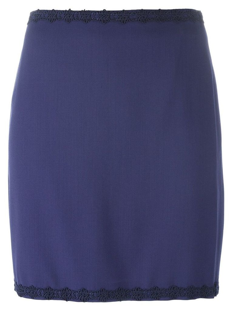 ROMEO GIGLI PRE-OWNED embroidered trim skirt - Blue