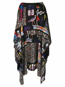 Jean Paul Gaultier Pre-Owned hieroglyph printed mullet skirt - Black