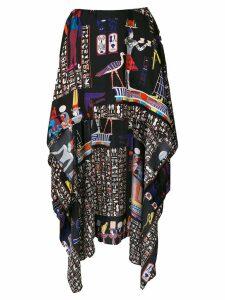 Jean Paul Gaultier Pre-Owned hieroglyph printed mullet skirt - Black