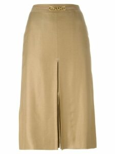 Céline Pre-Owned front slit belted skirt - Neutrals