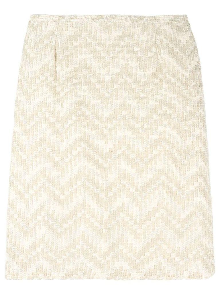 Jean Louis Scherrer Vintage chevron striped skirt - Neutrals