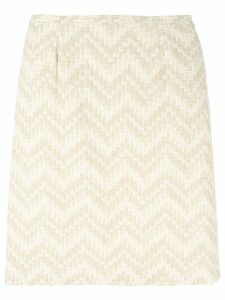Jean Louis Scherrer Pre-Owned chevron striped skirt - Neutrals