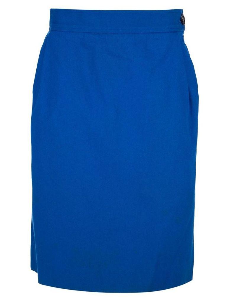 Yves Saint Laurent Vintage straight fit skirt - Blue