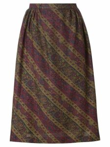 Jean Louis Scherrer Pre-Owned floral pleated skirt - Red