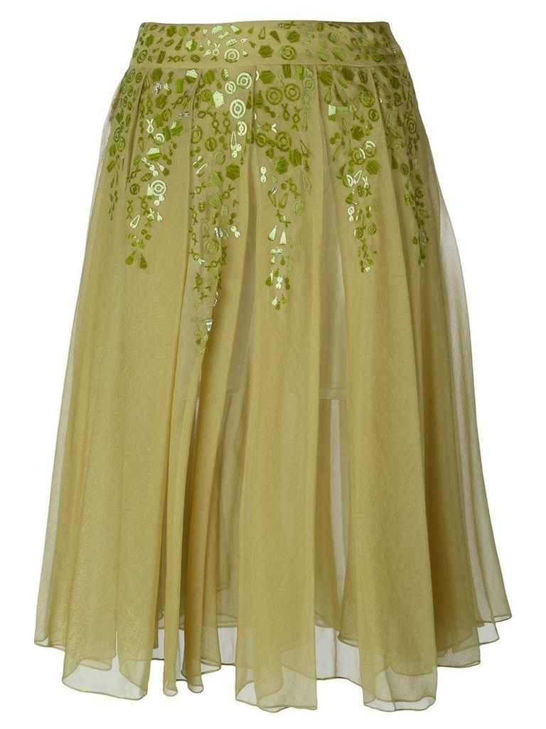 Romeo Gigli Vintage embellished pleated skirt - Green