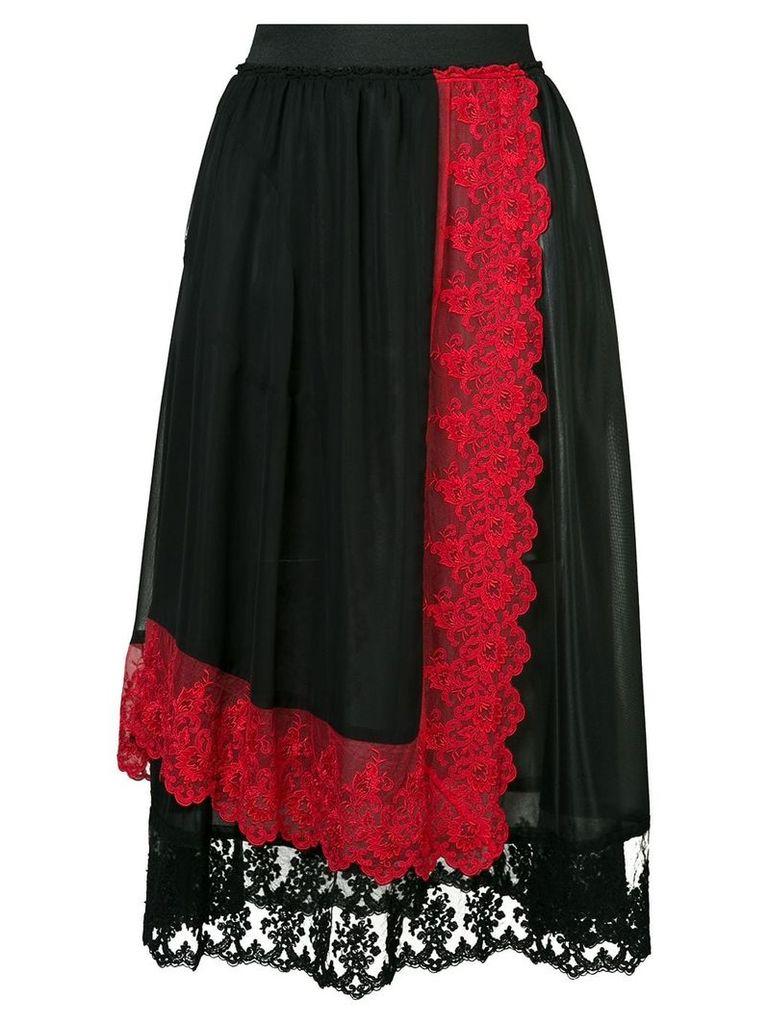Comme Des Garçons Vintage lace detail layered skirt - Black