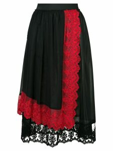 Comme Des Garçons Pre-Owned lace detail layered skirt - Black