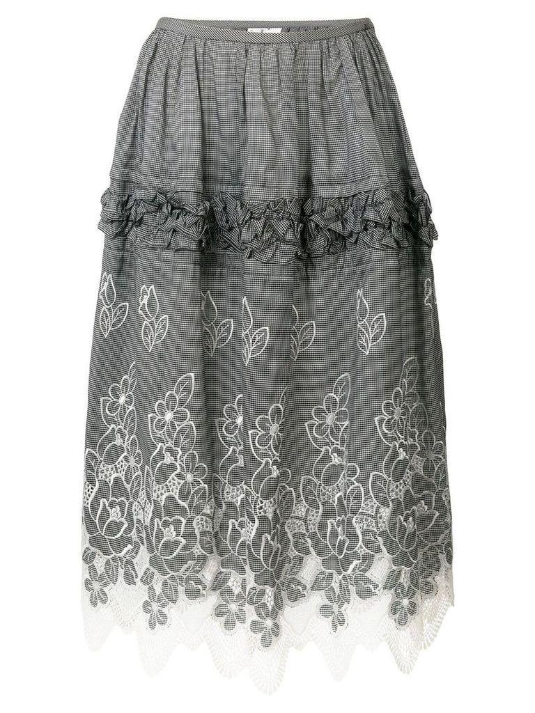 Comme Des Garçons Vintage floral embroidery skirt - Black