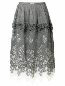 Comme Des Garçons Pre-Owned floral embroidery skirt - Black