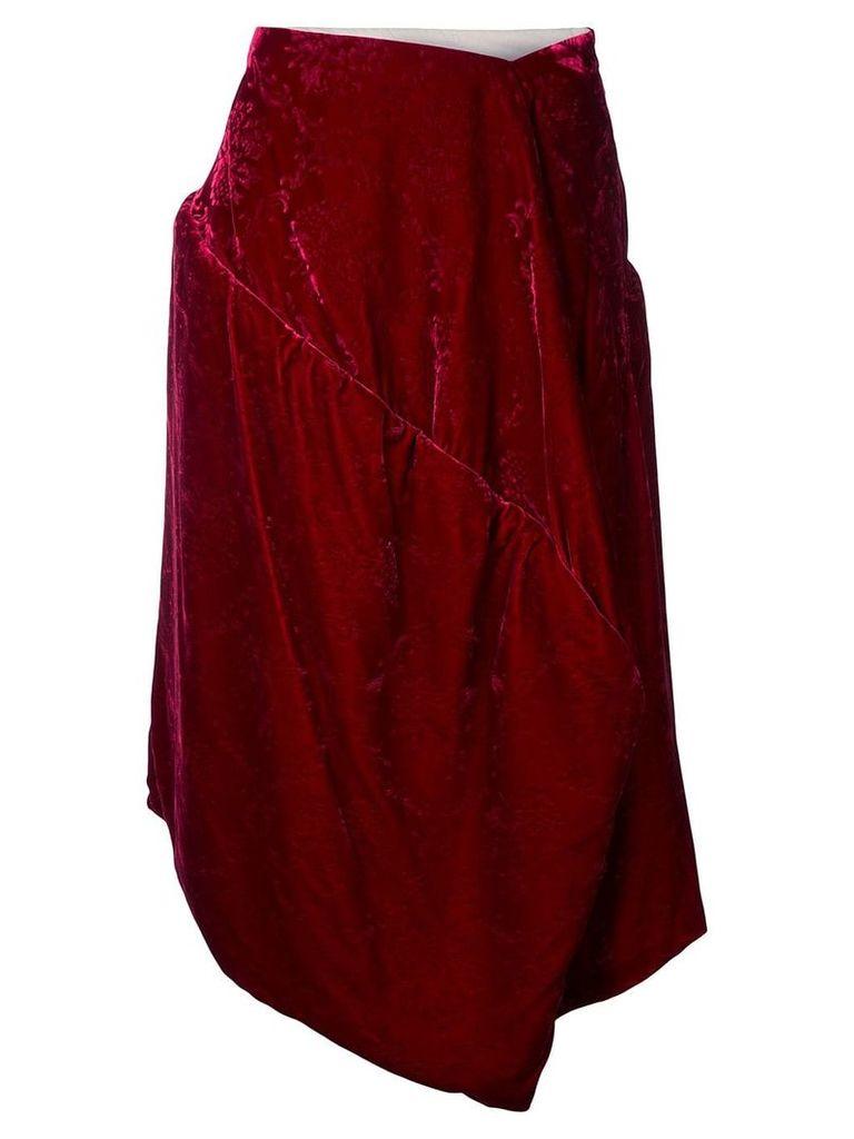 Comme Des Garçons Vintage velvet jacquard padded skirt - Red
