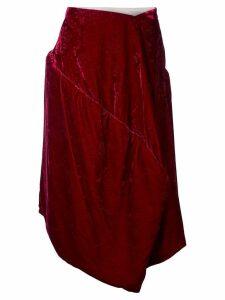 COMME DES GARÇONS PRE-OWNED velvet jacquard padded skirt - Red