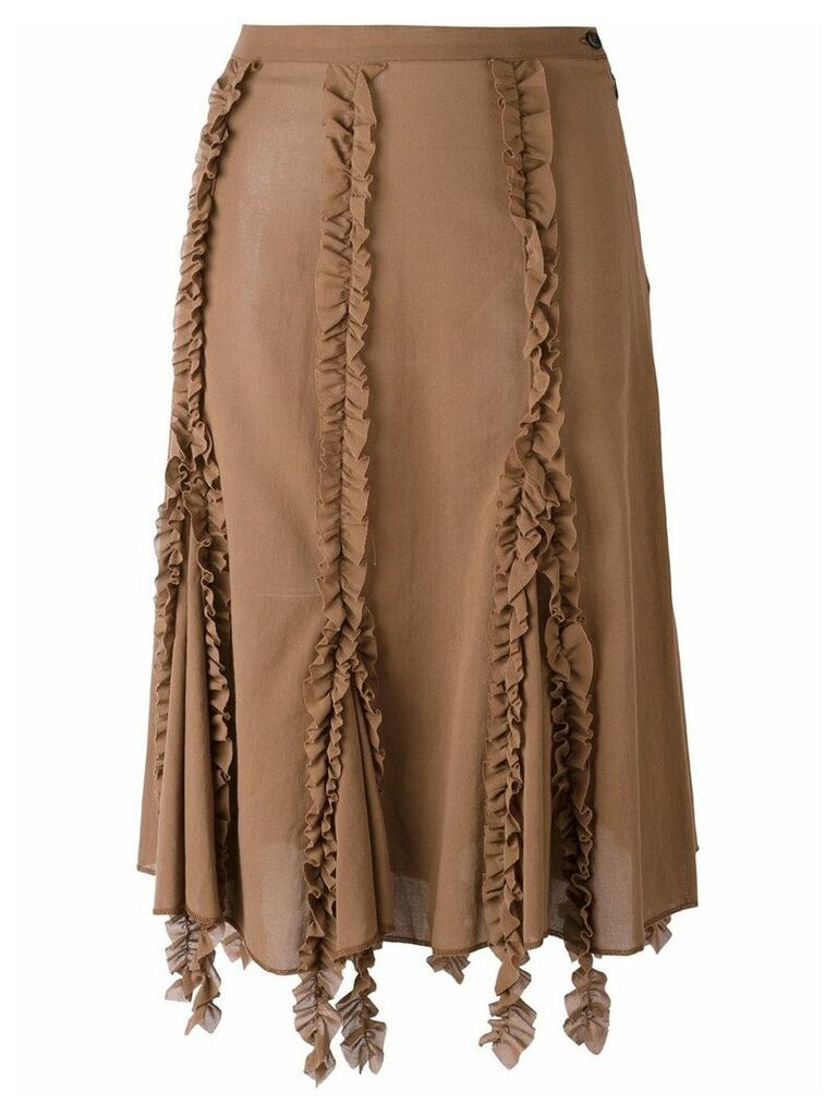 Romeo Gigli Vintage ruffled trim skirt - Brown