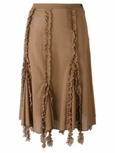 Romeo Gigli Pre-Owned ruffled trim skirt - Brown