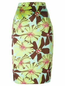 Prada Pre-Owned floral pencil skirt - Green