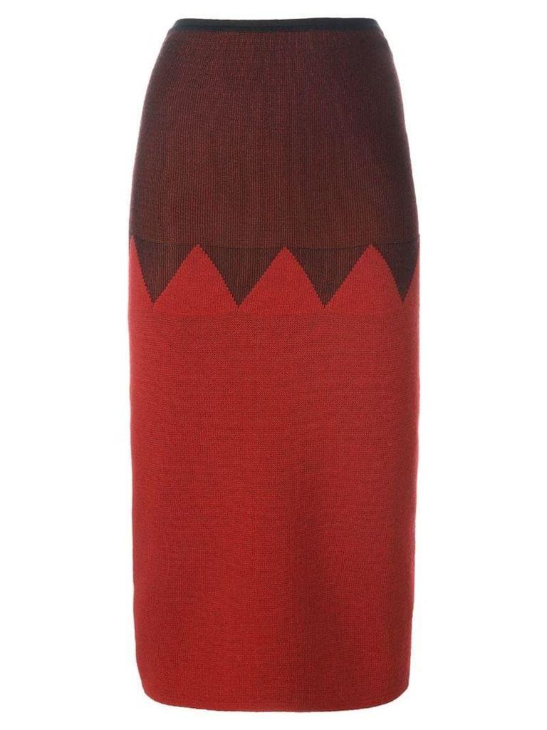 Jean Paul Gaultier Vintage zig zag panelled skirt - Red