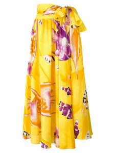 Jean Louis Scherrer Pre-Owned tie waist carp print skirt - Yellow