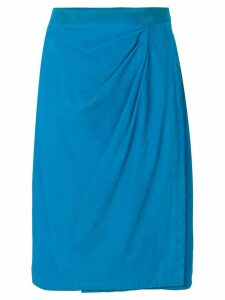 Yves Saint Laurent Pre-Owned draped front leather skirt - Blue