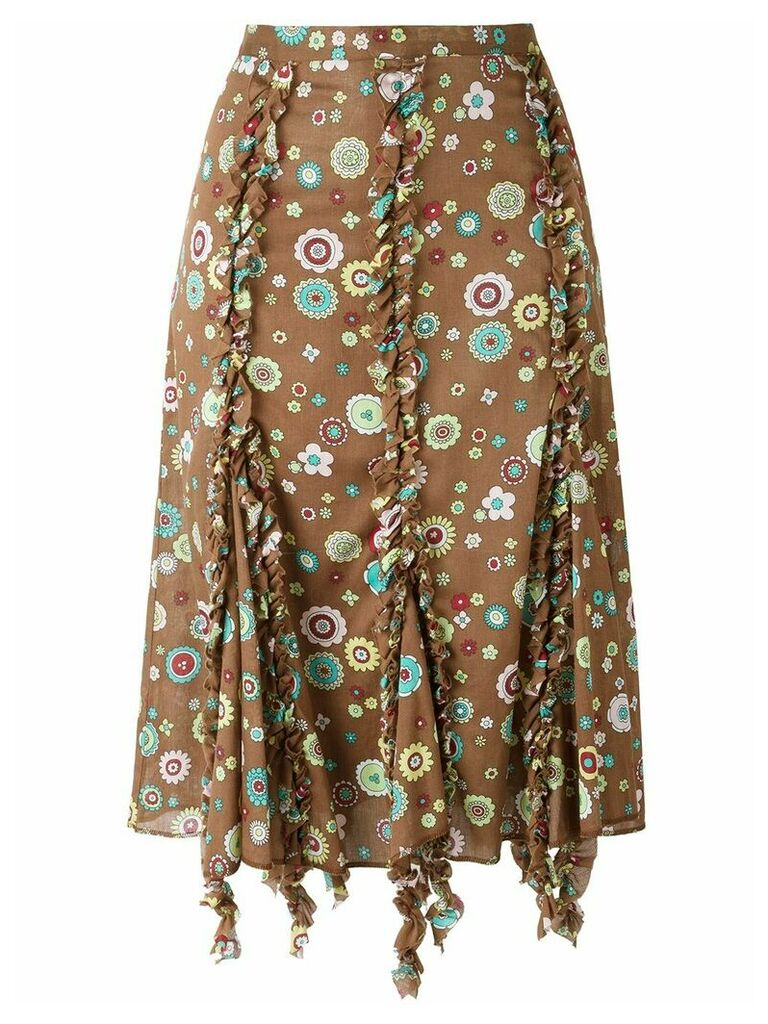 Romeo Gigli Vintage ruffled trim printed skirt - Brown