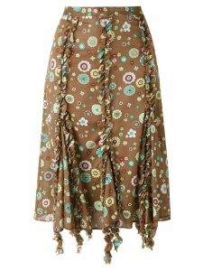Romeo Gigli Pre-Owned ruffled trim printed skirt - Brown