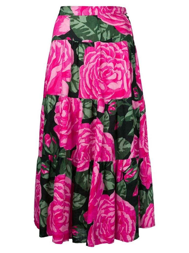 Valentino Vintage roses print flared skirt - Pink