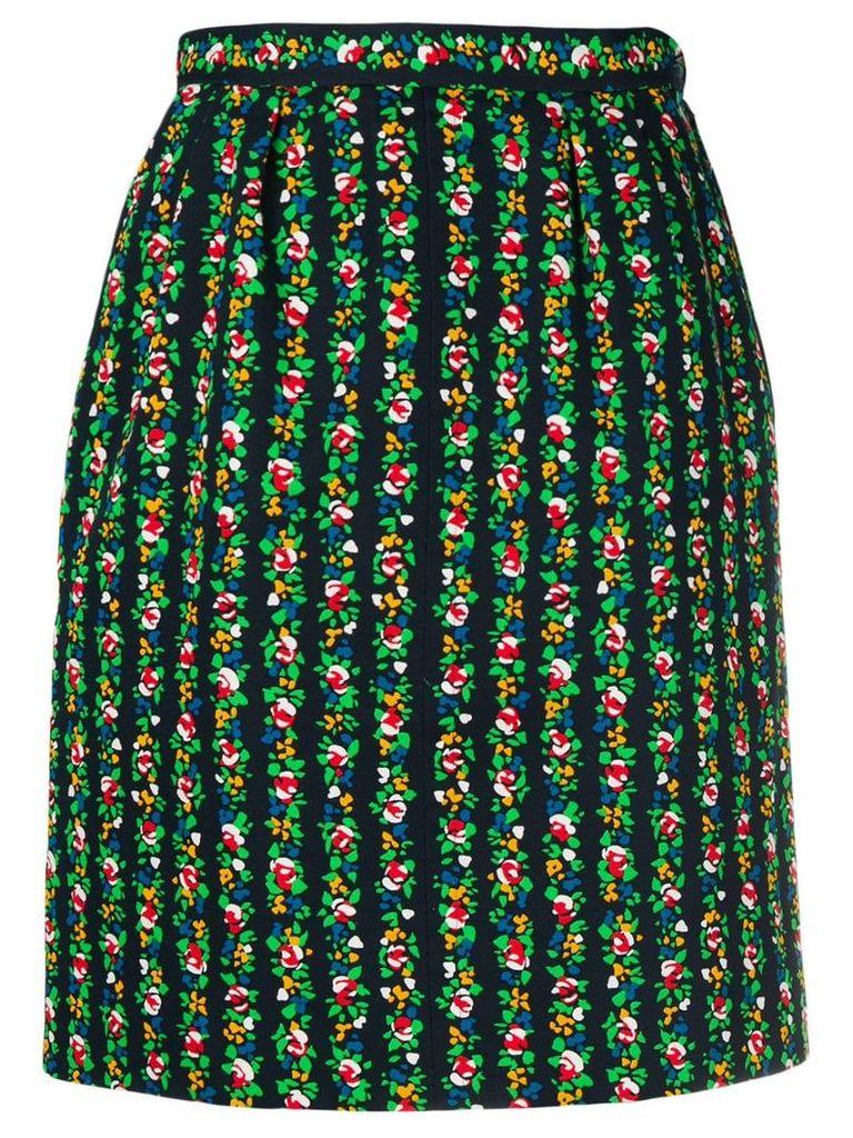 Yves Saint Laurent Vintage floral print skirt - Black