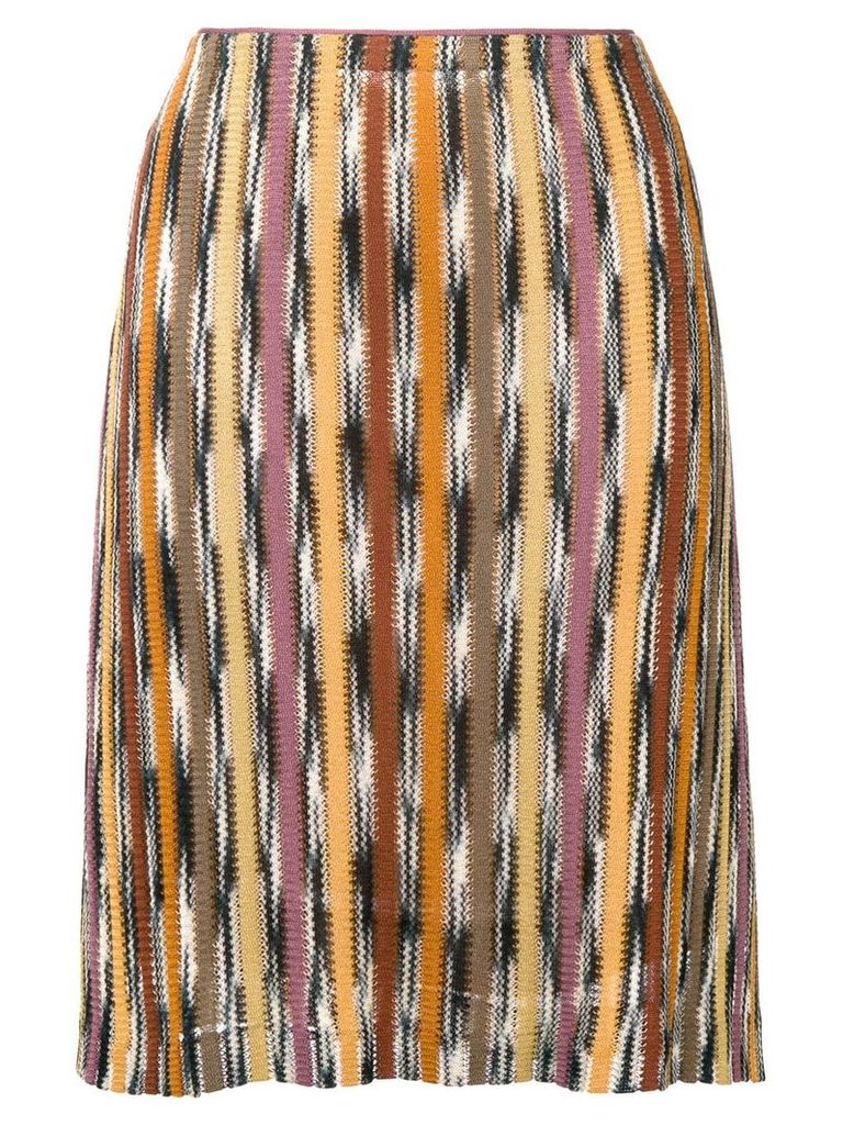 Missoni Vintage patterned stripe knitted skirt - Multicolour