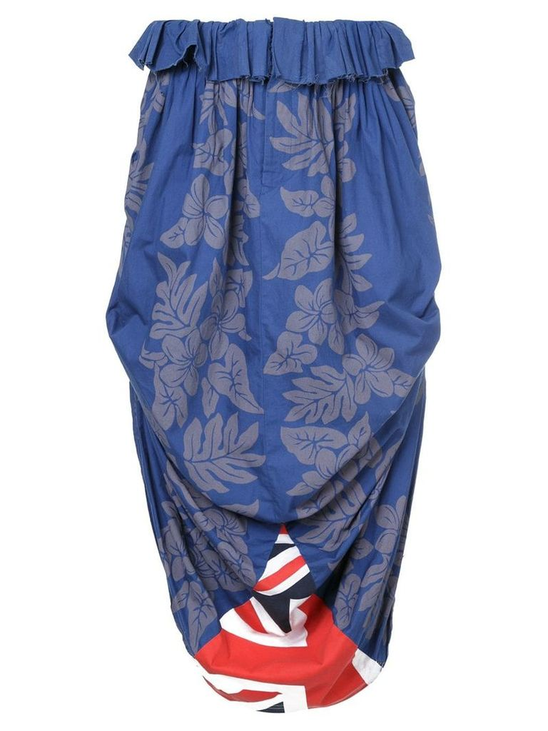 Comme Des Garçons Vintage floral print draped skirt - Blue