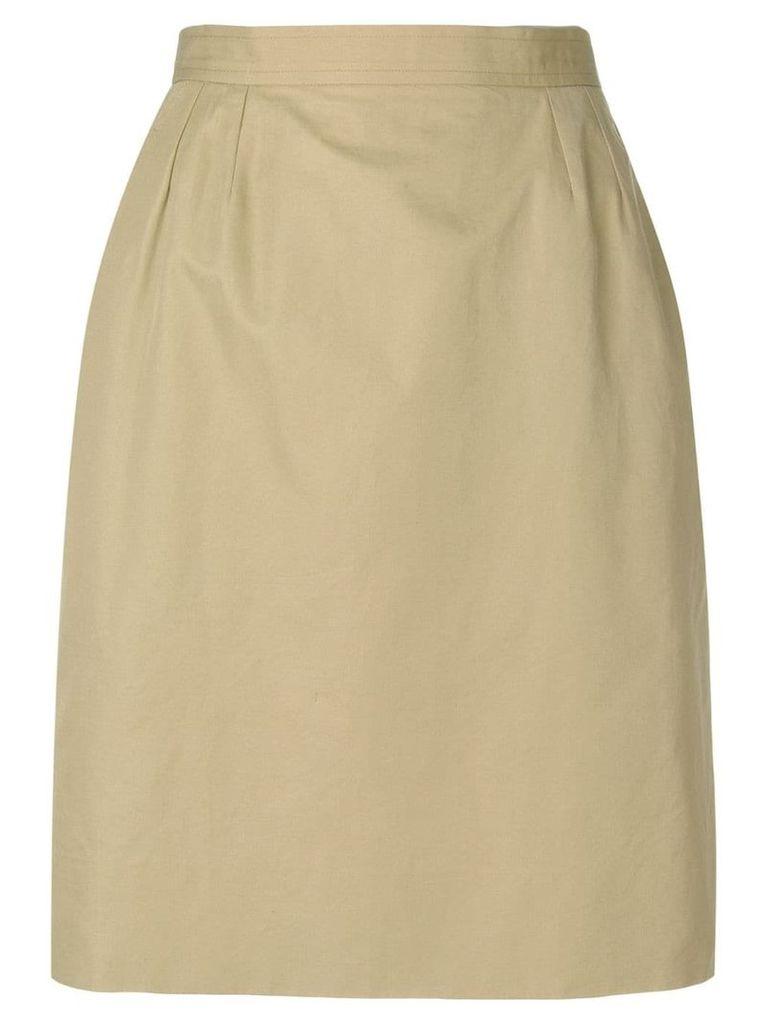 Yves Saint Laurent Vintage high rise straight skirt - Neutrals
