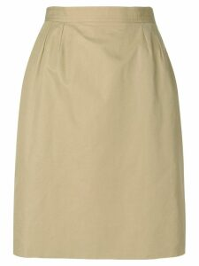 Yves Saint Laurent Pre-Owned high rise straight skirt - Neutrals