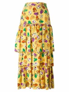 Yves Saint Laurent Pre-Owned layered floral print skirt - Yellow
