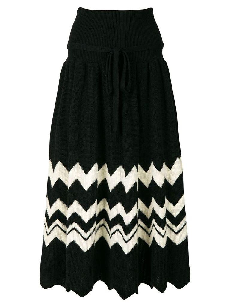 Comme Des Garçons Vintage 1989 zig-zag knitted skirt - Black