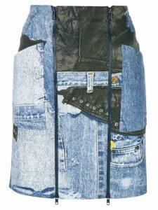 Christian Dior Pre-Owned denim print mini skirt - Blue