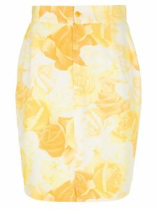 Versace Pre-Owned rose print pencil skirt - Yellow