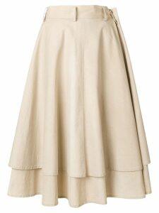 Yohji Yamamoto Pre-Owned double-layered full skirt - NEUTRALS