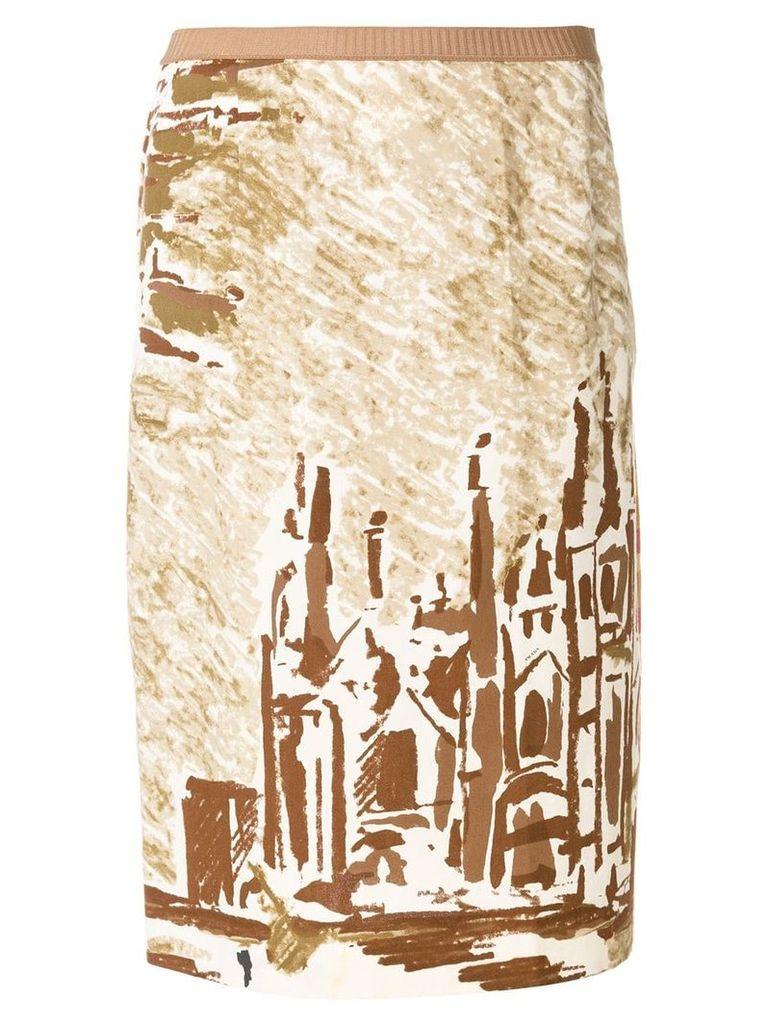 Prada Vintage cathedral printed skirt - Neutrals